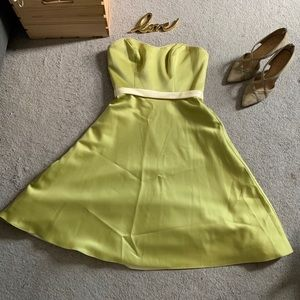 Alfred Angelo Strapless Lime Dress Sz 4